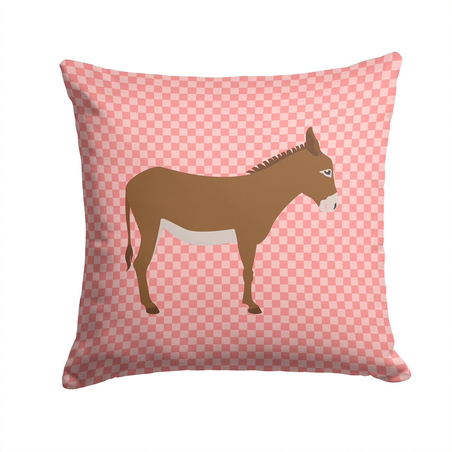 Cotentin Donkey Pink Check Fabric Decorative Pillow BB7849PW1414 by Caroline's Treasures