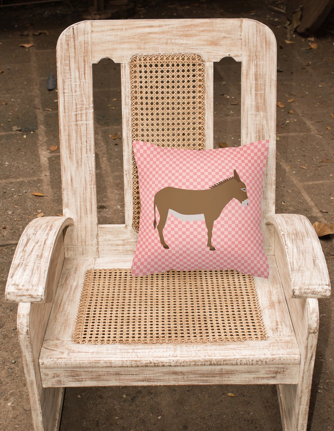 Cotentin Donkey Pink Check Fabric Decorative Pillow BB7849PW1818 by Caroline's Treasures
