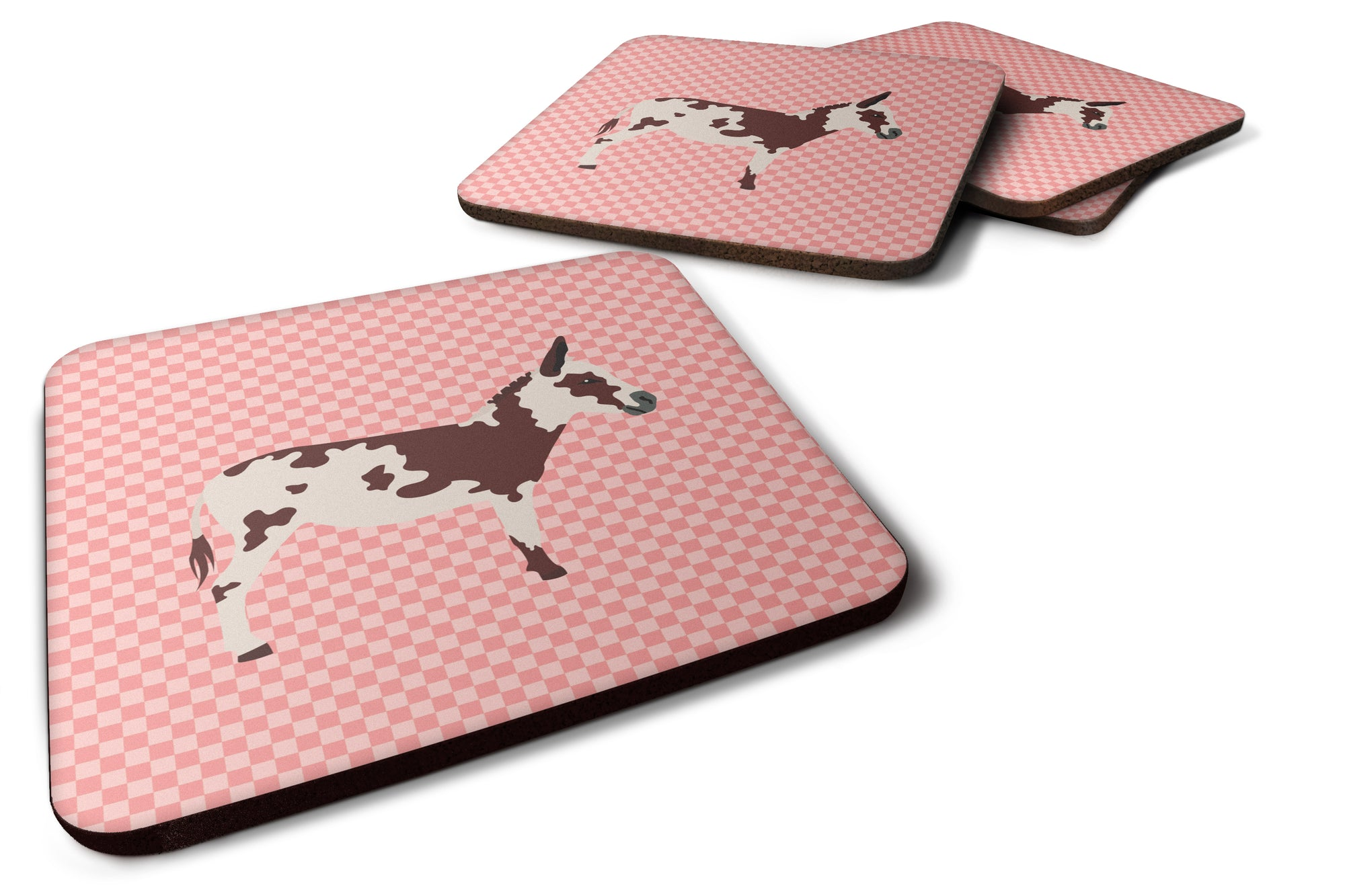 American Spotted Donkey Pink Check Foam Coaster Set of 4 BB7851FC by Caroline's Treasures
