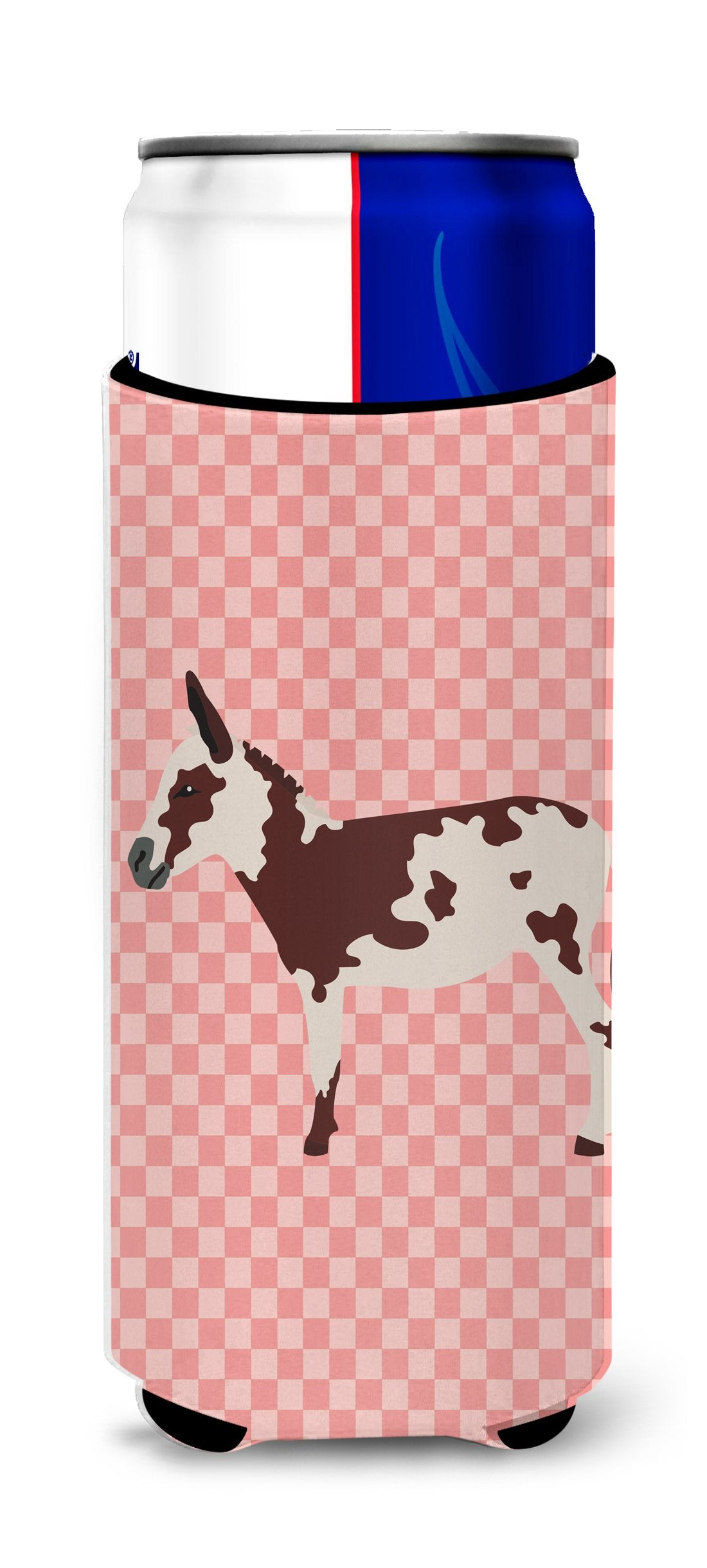 Buy this American Spotted Donkey Pink Check Michelob Ultra Hugger for slim cans