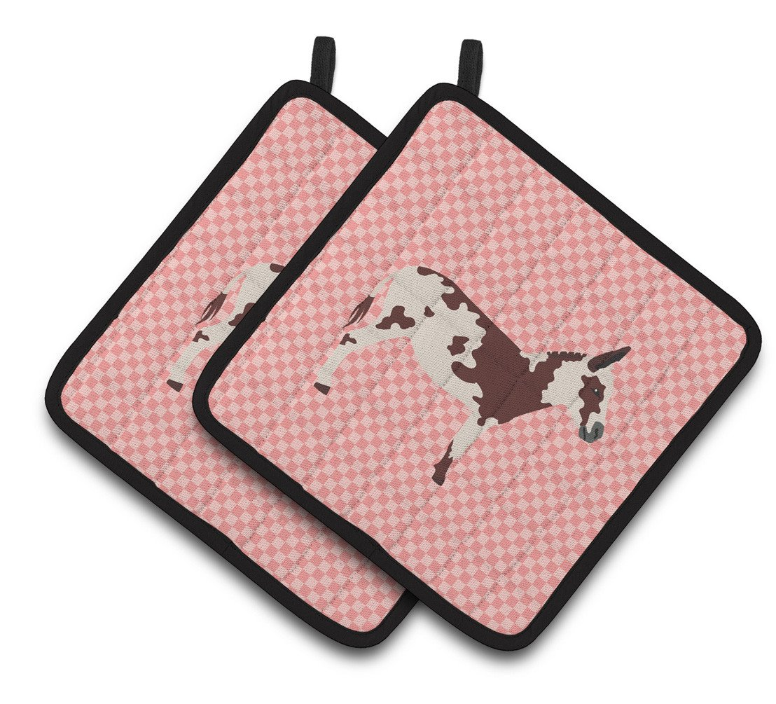 American Spotted Donkey Pink Check Pair of Pot Holders BB7851PTHD by Caroline's Treasures