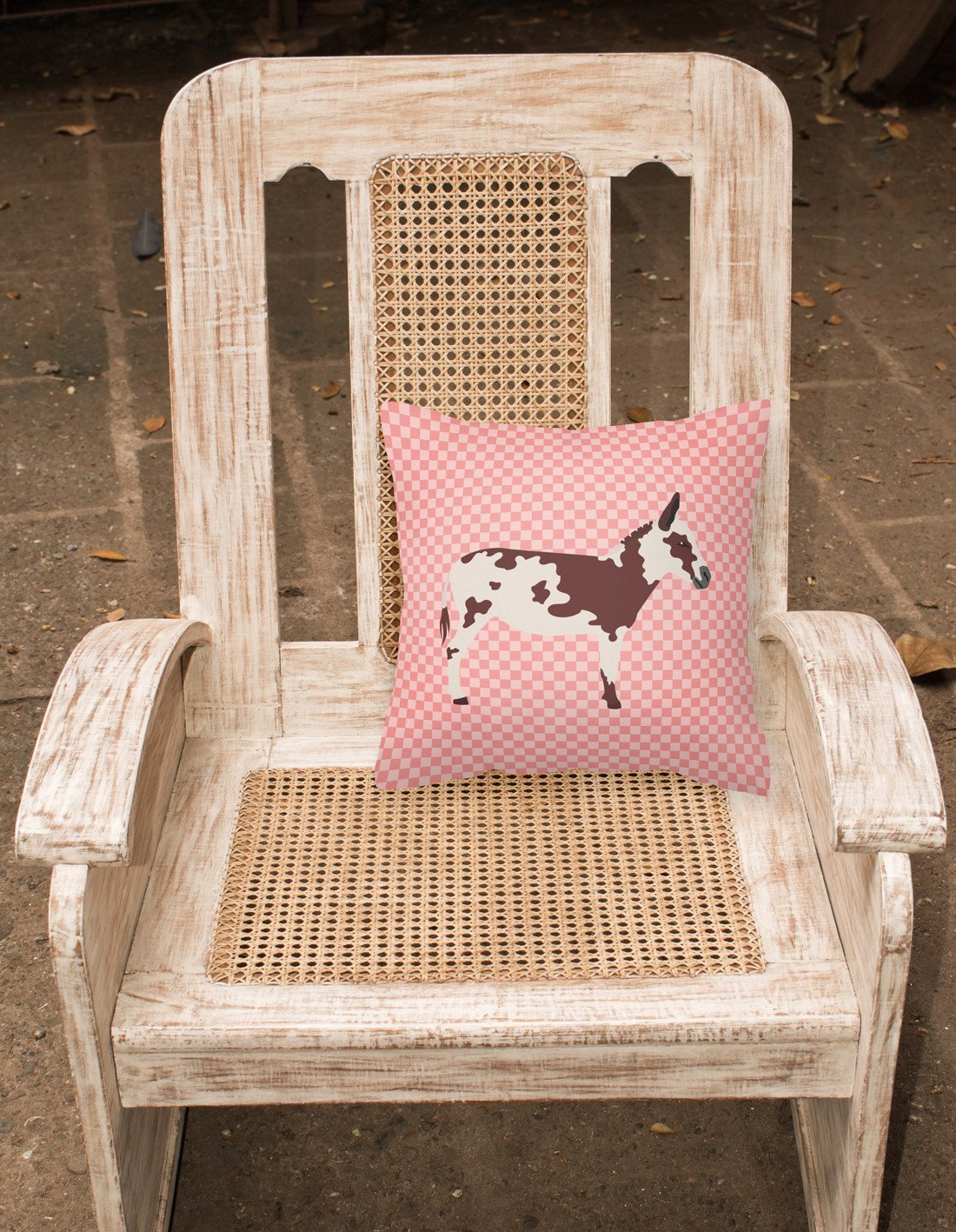 American Spotted Donkey Pink Check Fabric Decorative Pillow BB7851PW1818 by Caroline's Treasures