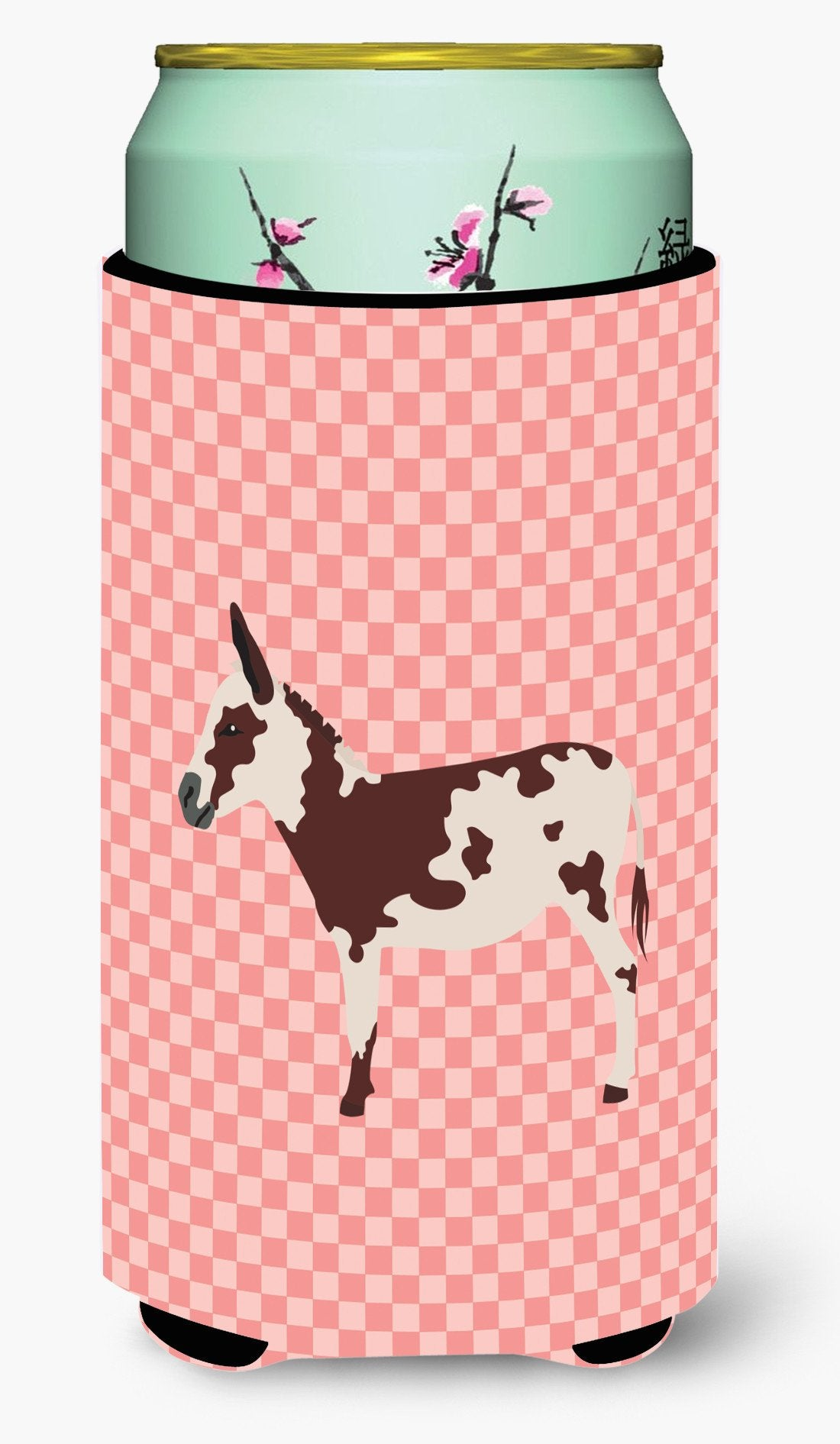 American Spotted Donkey Pink Check Tall Boy Beverage Insulator Hugger BB7851TBC by Caroline's Treasures