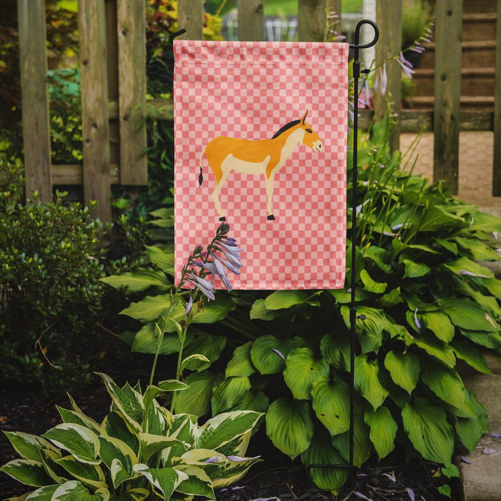 Turkmenian Kulan Donkey Pink Check Flag Garden Size by Caroline's Treasures