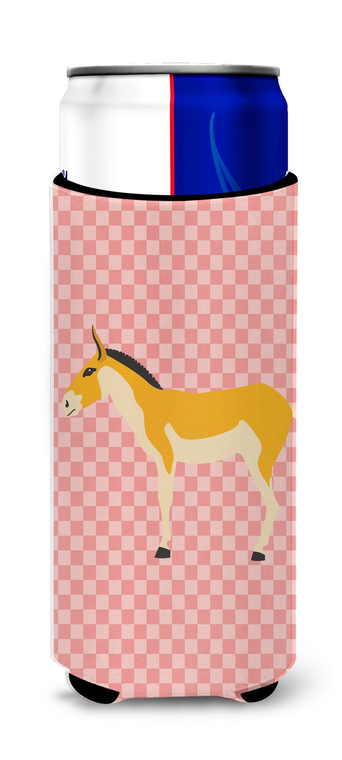 Buy this Turkmenian Kulan Donkey Pink Check Michelob Ultra Hugger for slim cans