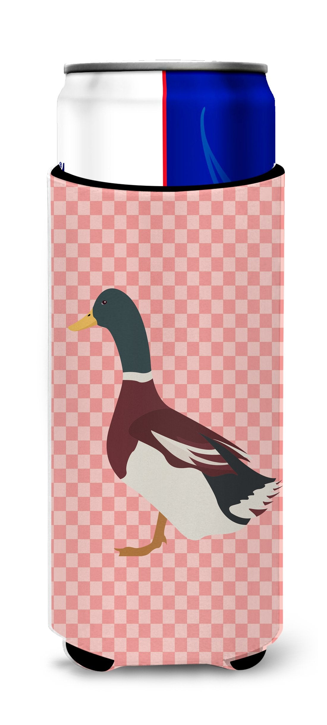 Buy this Rouen Duck Pink Check Michelob Ultra Hugger for slim cans