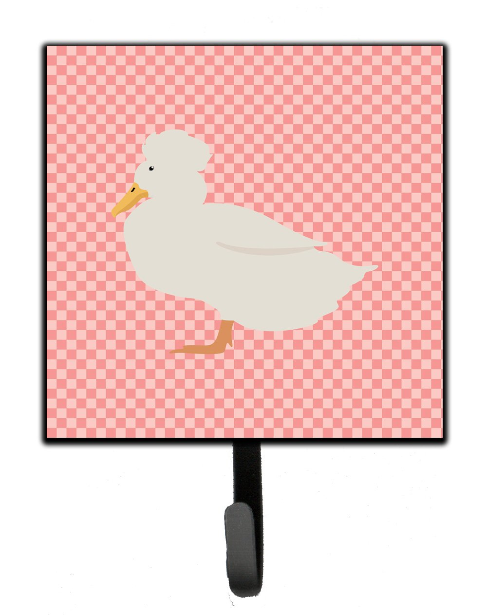 Crested Duck Pink Check Leash or Key Holder by Caroline's Treasures