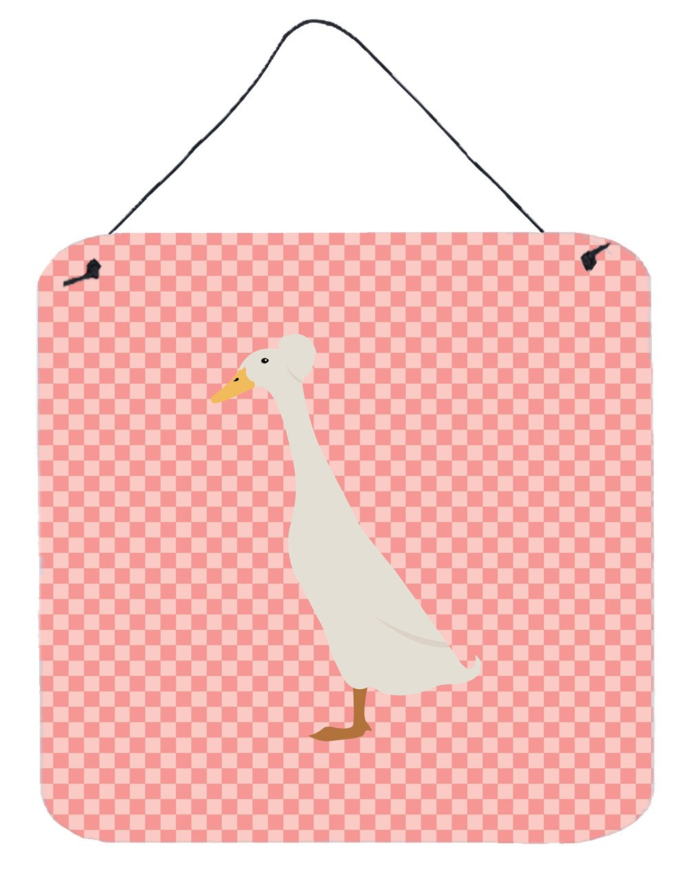 Bali Duck Pink Check Wall or Door Hanging Prints BB7859DS66 by Caroline's Treasures