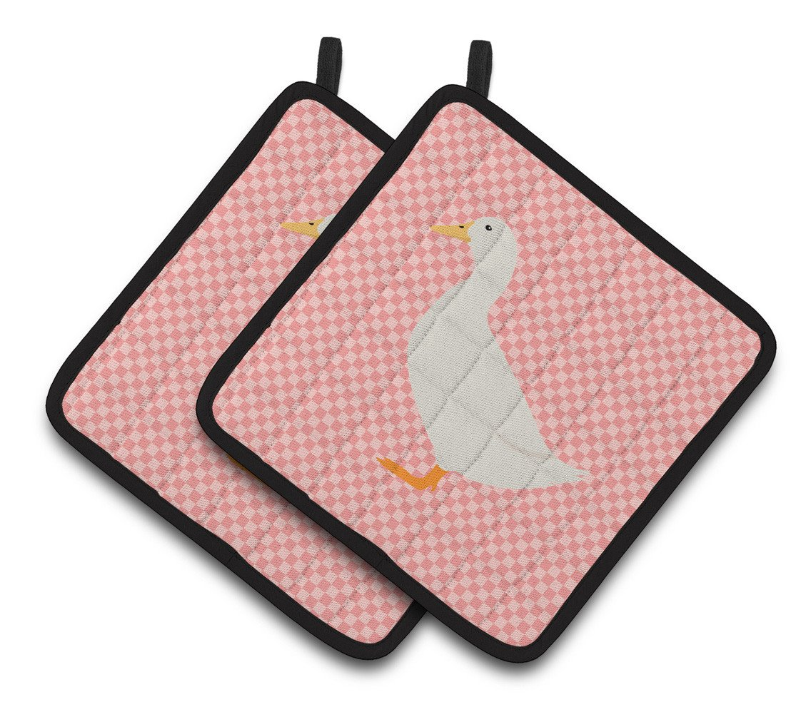 American Pekin Duck Pink Check Pair of Pot Holders BB7860PTHD by Caroline's Treasures