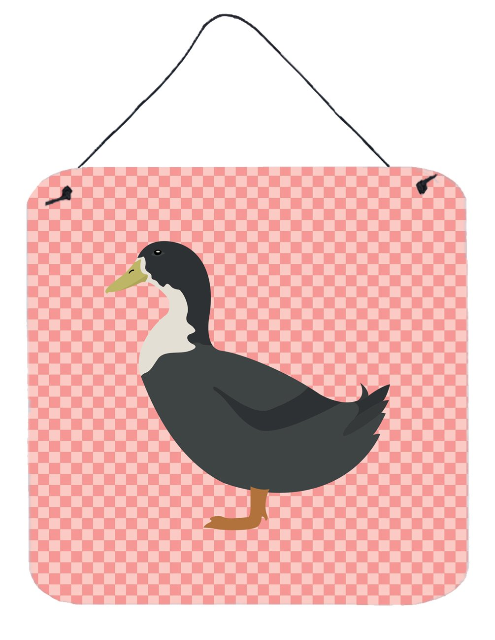 Blue Swedish Duck Pink Check Wall or Door Hanging Prints by Caroline's Treasures
