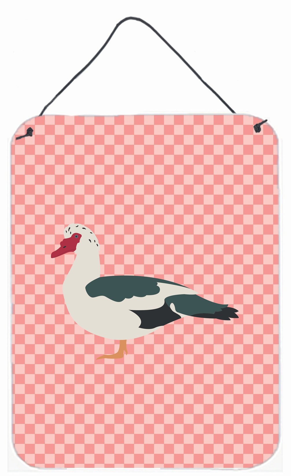 Muscovy Duck Pink Check Wall or Door Hanging Prints BB7864DS1216 by Caroline's Treasures