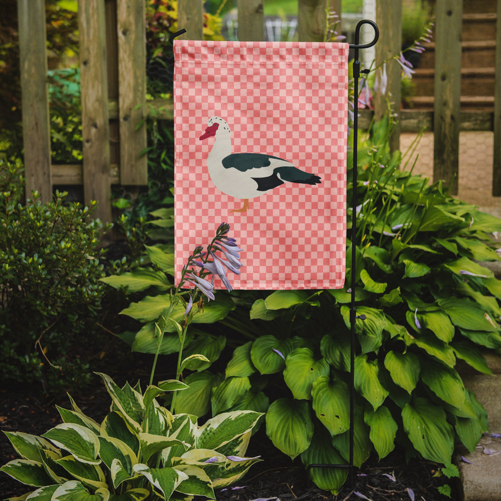 Muscovy Duck Pink Check Flag Garden Size by Caroline's Treasures