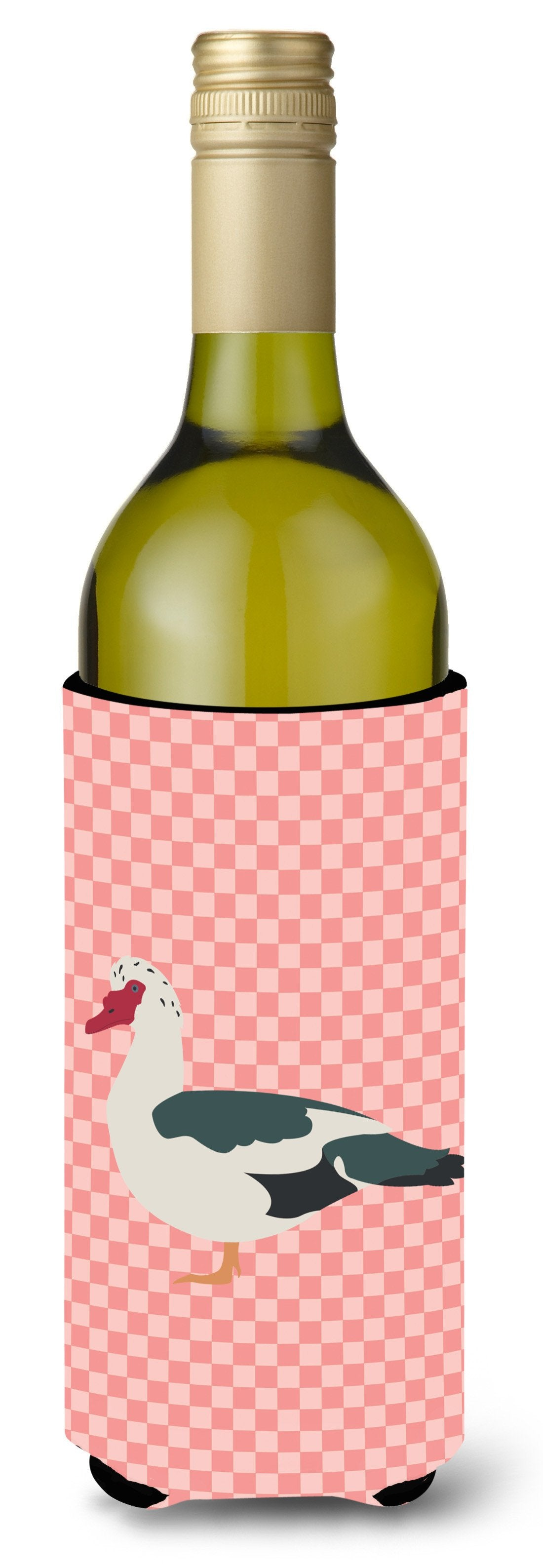 Muscovy Duck Pink Check Wine Bottle Beverge Insulator Hugger BB7864LITERK by Caroline's Treasures