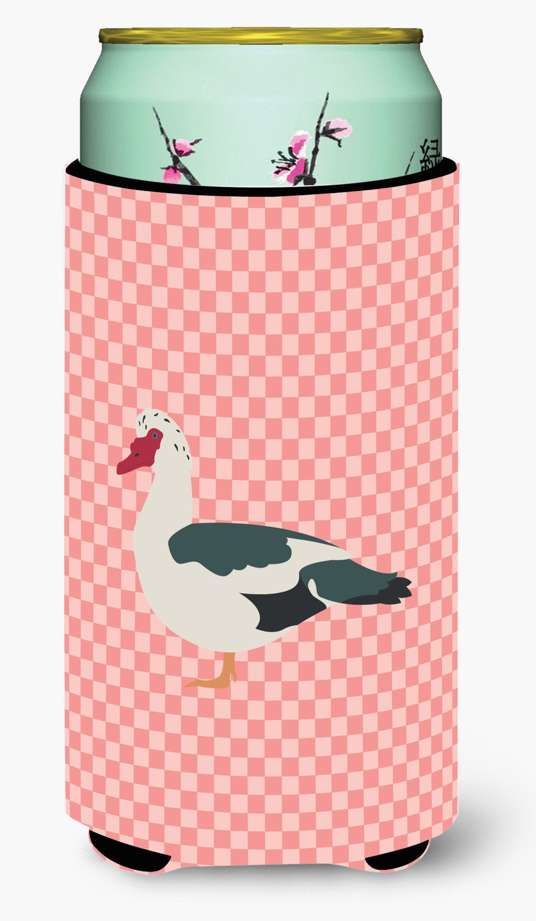 Muscovy Duck Pink Check Tall Boy Beverage Insulator Hugger BB7864TBC by Caroline's Treasures