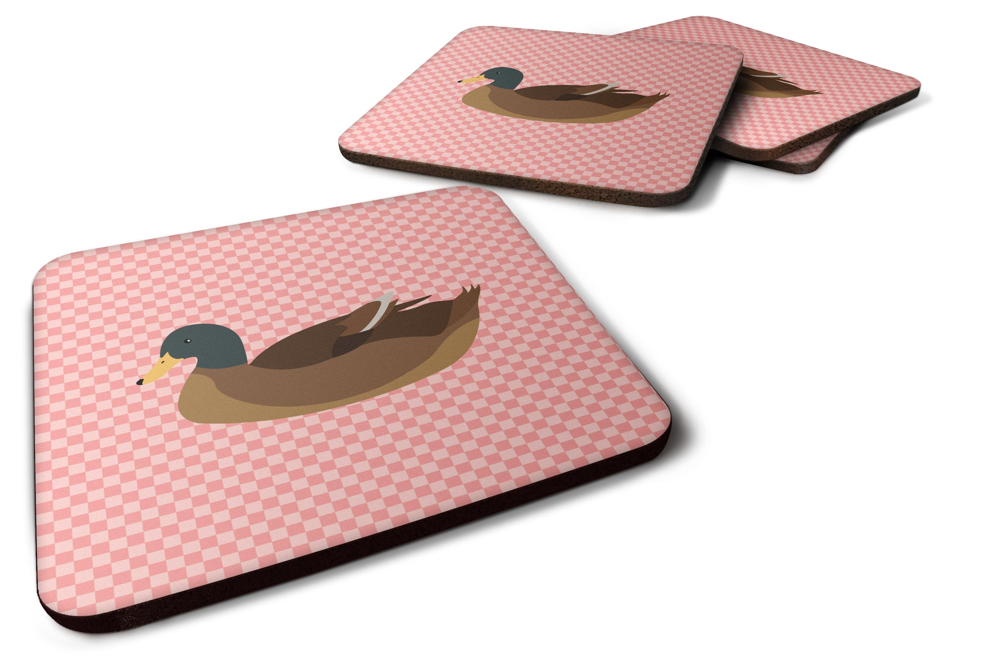 Khaki Campbell Duck Pink Check Foam Coaster Set of 4 BB7866FC by Caroline's Treasures