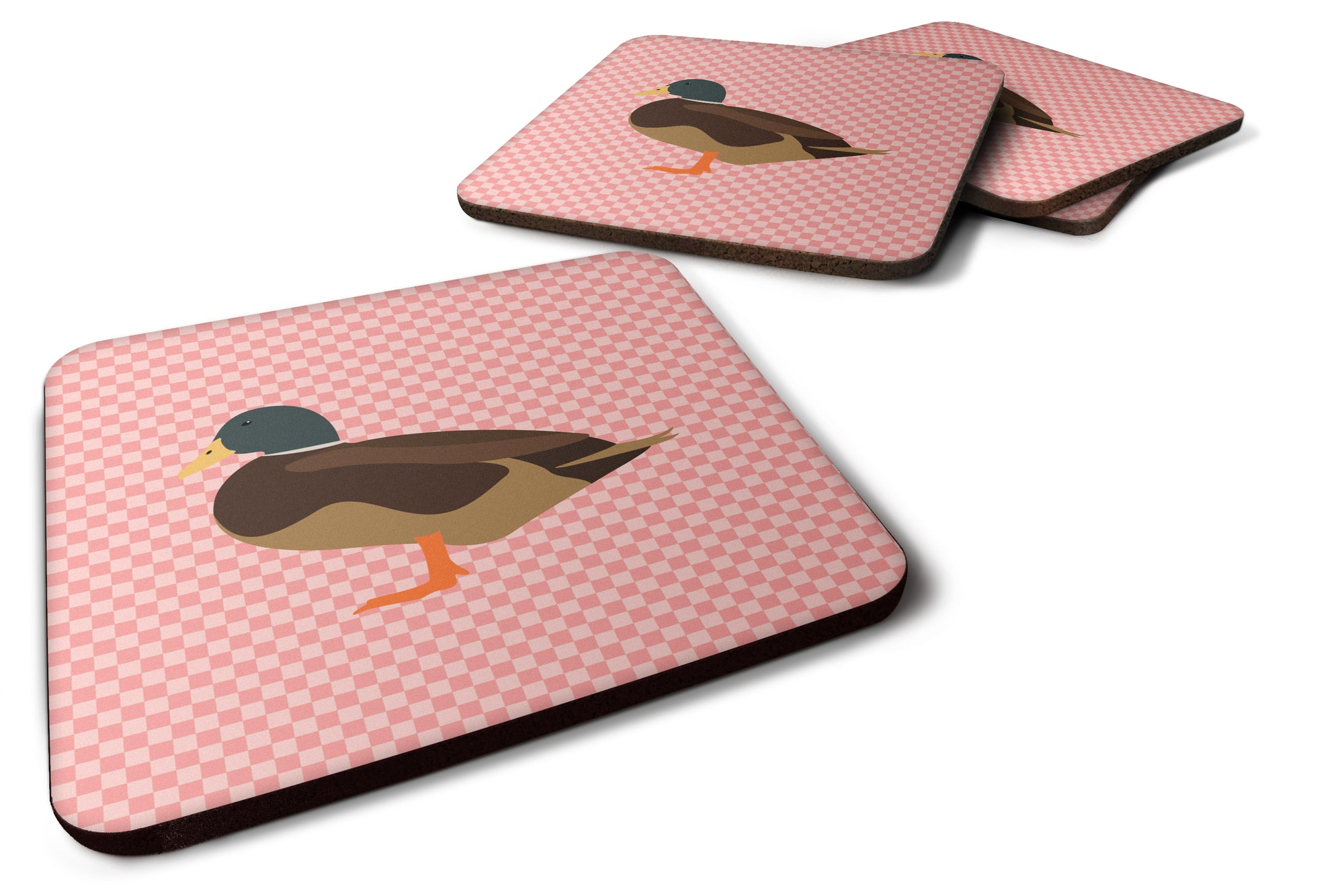 Silver Bantam Duck Pink Check Foam Coaster Set of 4 BB7867FC by Caroline's Treasures