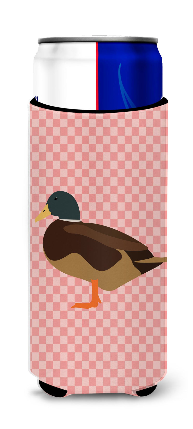 Buy this Silver Bantam Duck Pink Check Michelob Ultra Hugger for slim cans