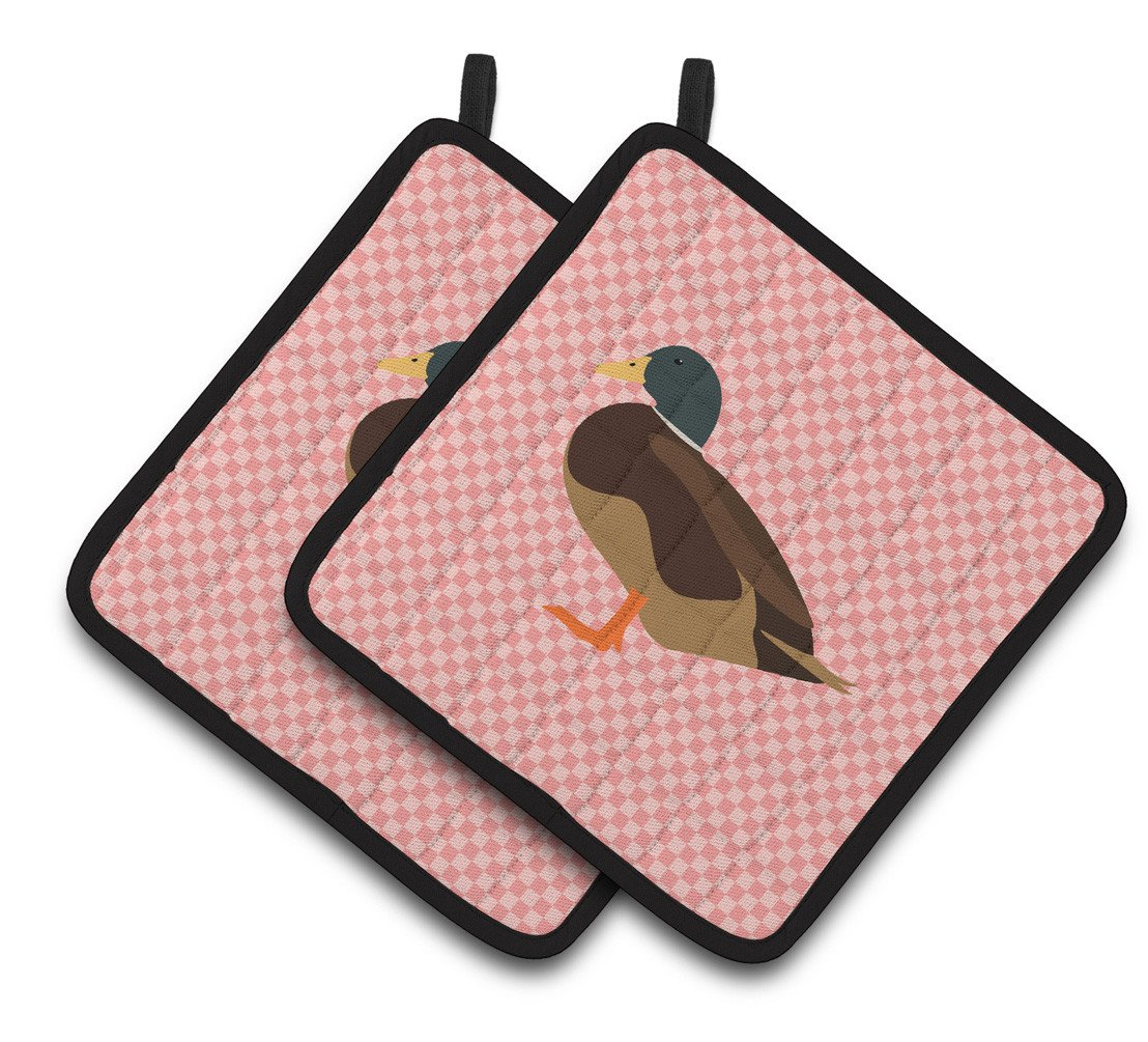 Silver Bantam Duck Pink Check Pair of Pot Holders BB7867PTHD by Caroline's Treasures