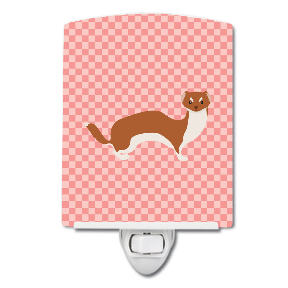 Buy this Weasel Pink Check Ceramic Night Light BB7870CNL