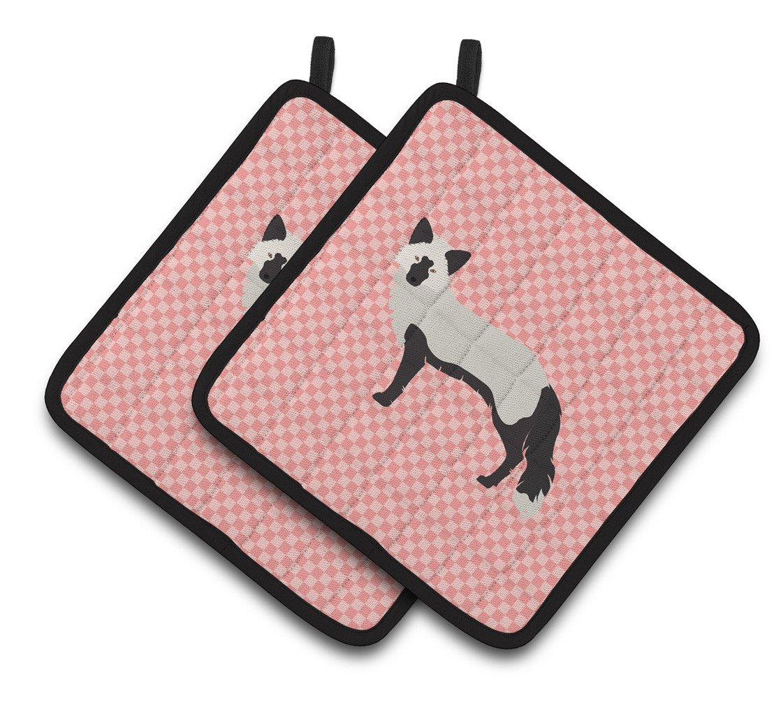 Silver Fox Pink Check Pair of Pot Holders BB7871PTHD by Caroline's Treasures
