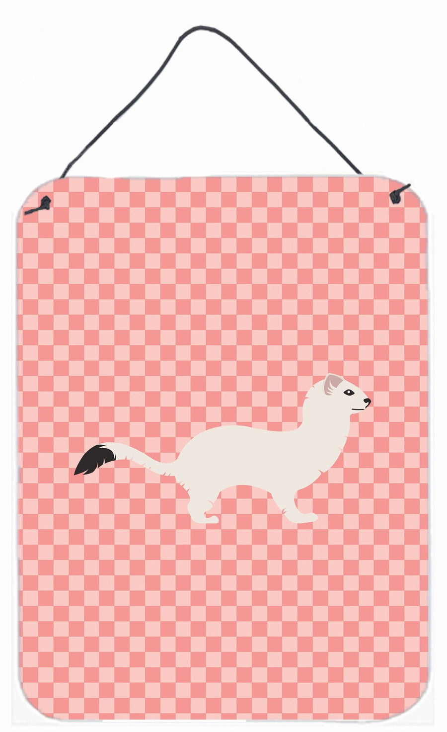 Buy this Stoat Short-tailed Weasel Pink Check Wall or Door Hanging Prints BB7872DS1216