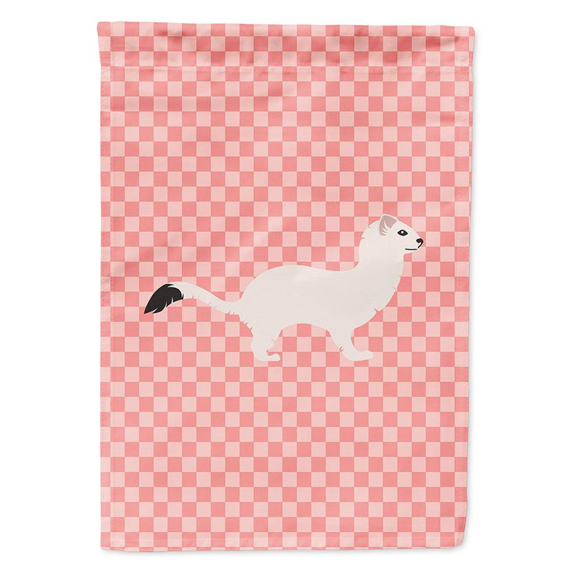 Buy this Stoat Short-tailed Weasel Pink Check Flag Garden Size