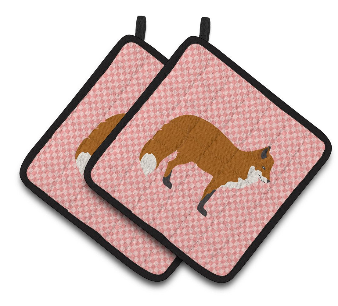 Red Fox Pink Check Pair of Pot Holders BB7876PTHD by Caroline's Treasures