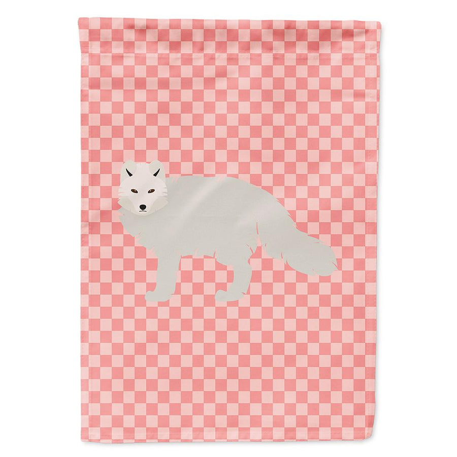 Buy this White Arctic Fox Pink Check Flag Garden Size
