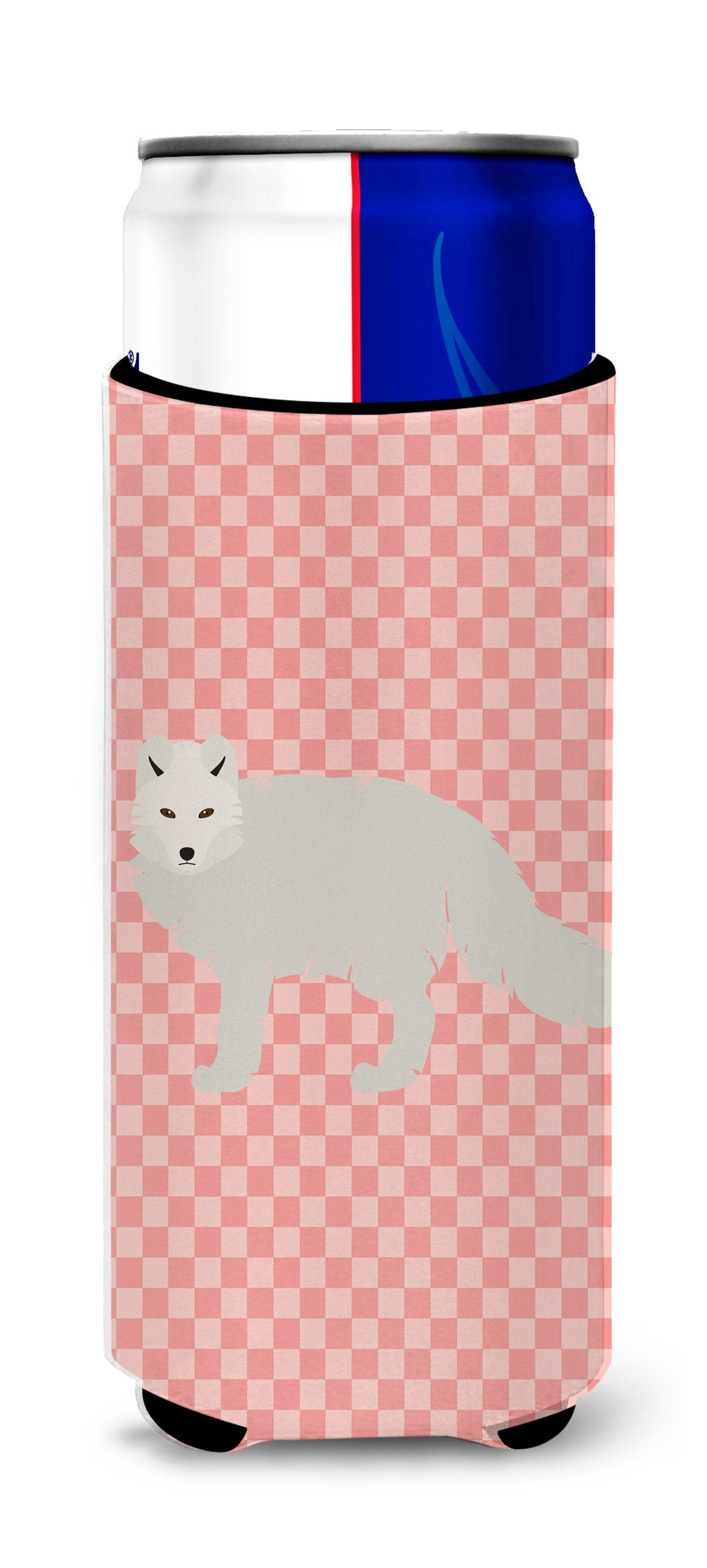 Buy this White Arctic Fox Pink Check Michelob Ultra Hugger for slim cans