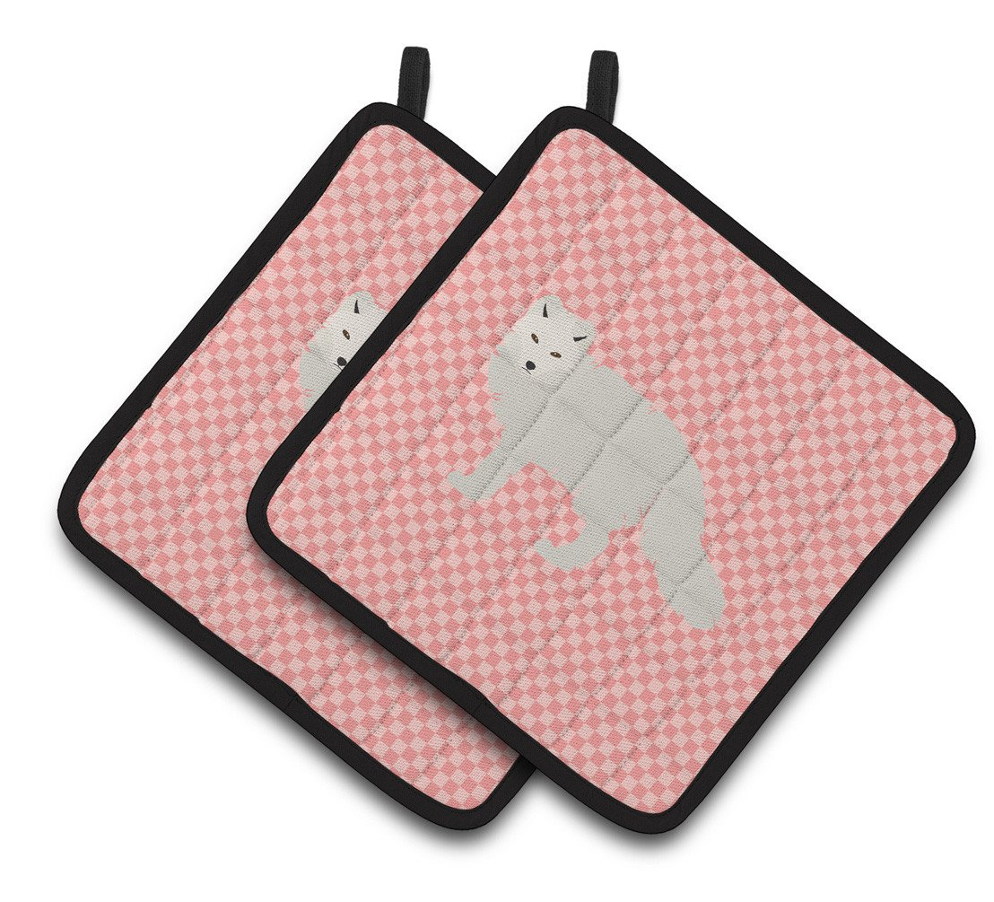 White Arctic Fox Pink Check Pair of Pot Holders BB7877PTHD by Caroline's Treasures