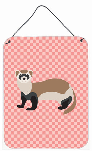 Buy this Ferret Pink Check Wall or Door Hanging Prints BB7878DS1216