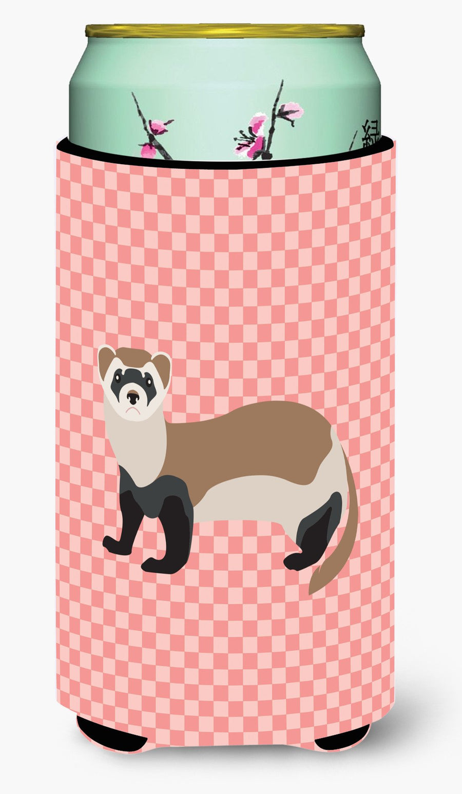 Buy this Ferret Pink Check Tall Boy Beverage Insulator Hugger BB7878TBC