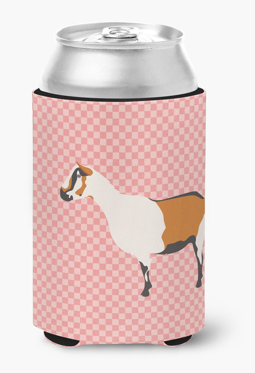 Alpine Goat Pink Check Can or Bottle Hugger BB7880CC by Caroline's Treasures