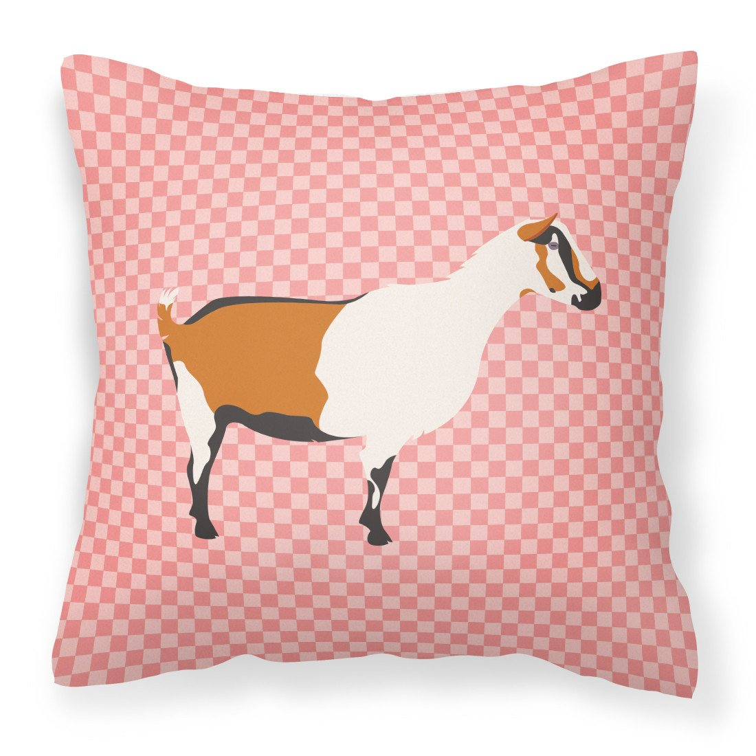 Alpine Goat Pink Check Fabric Decorative Pillow BB7880PW1818 by Caroline's Treasures