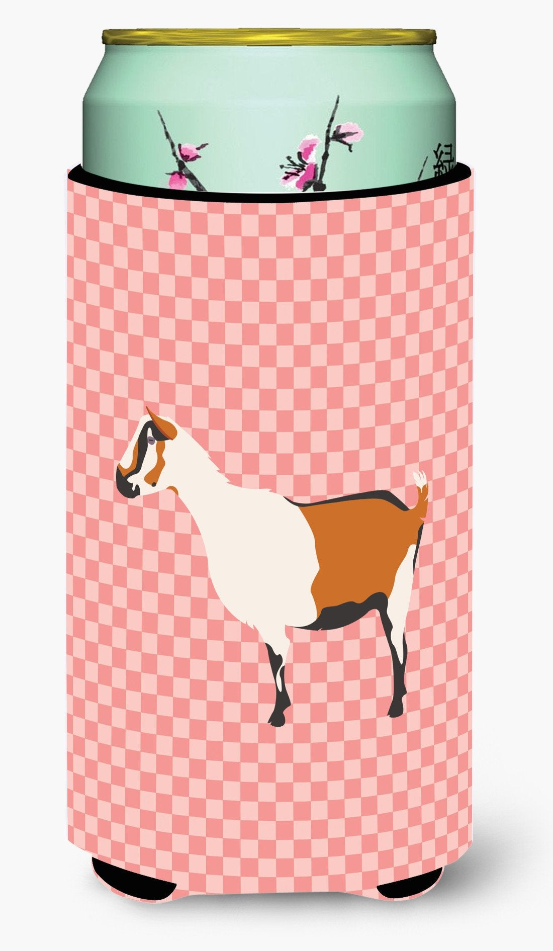 Alpine Goat Pink Check Tall Boy Beverage Insulator Hugger BB7880TBC by Caroline's Treasures