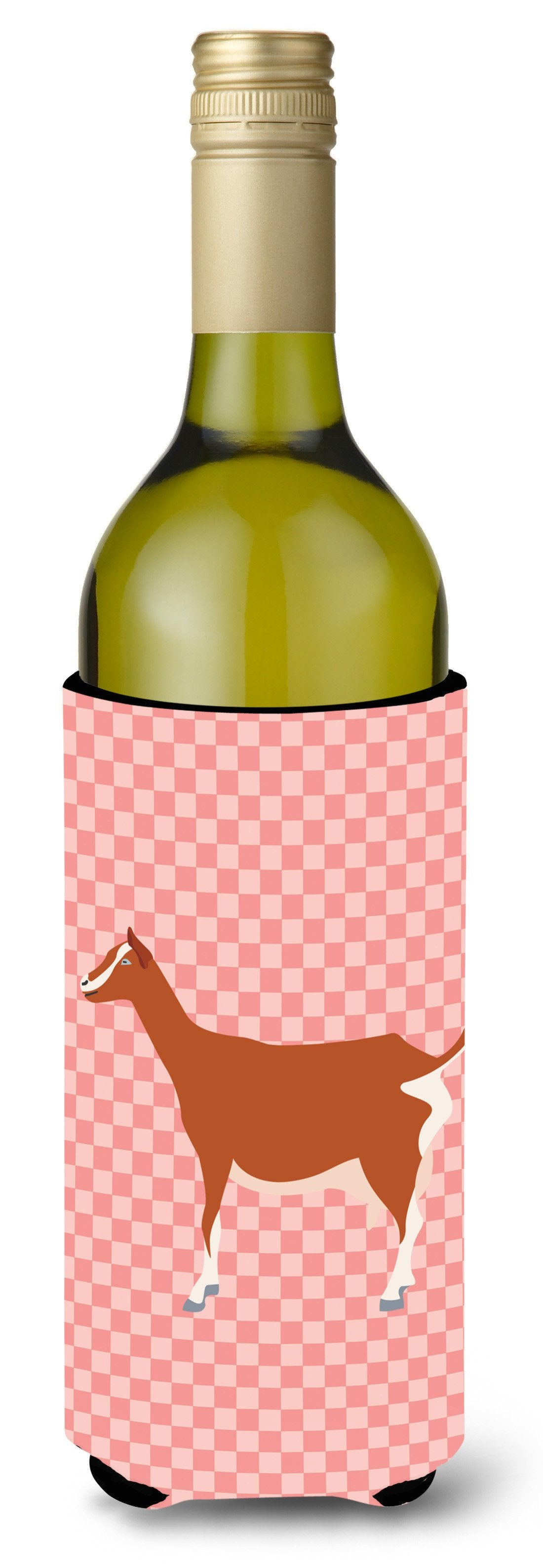 Toggenburger Goat Pink Check Wine Bottle Beverge Insulator Hugger BB7881LITERK by Caroline's Treasures