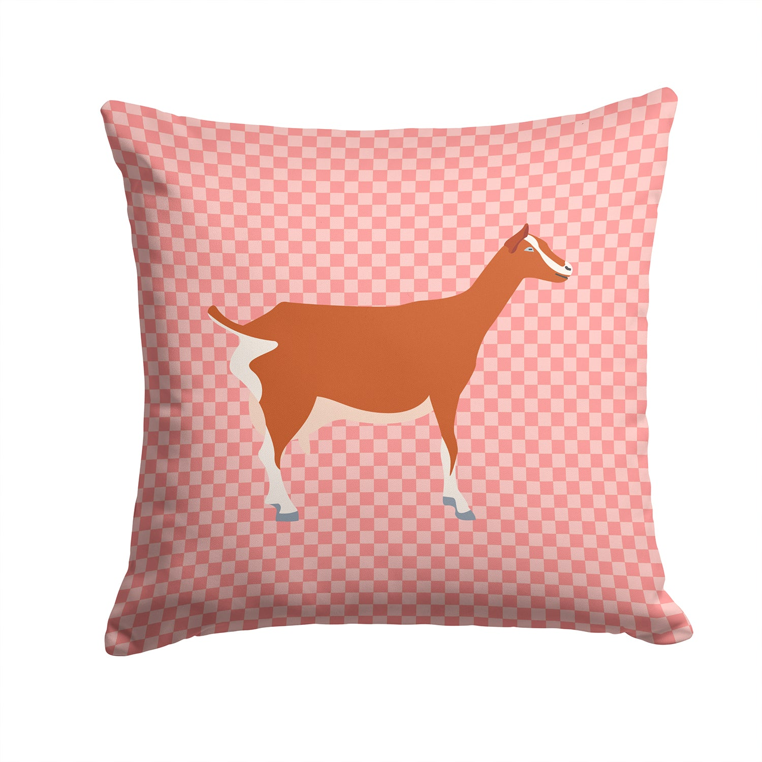 Toggenburger Goat Pink Check Fabric Decorative Pillow BB7881PW1414 by Caroline's Treasures