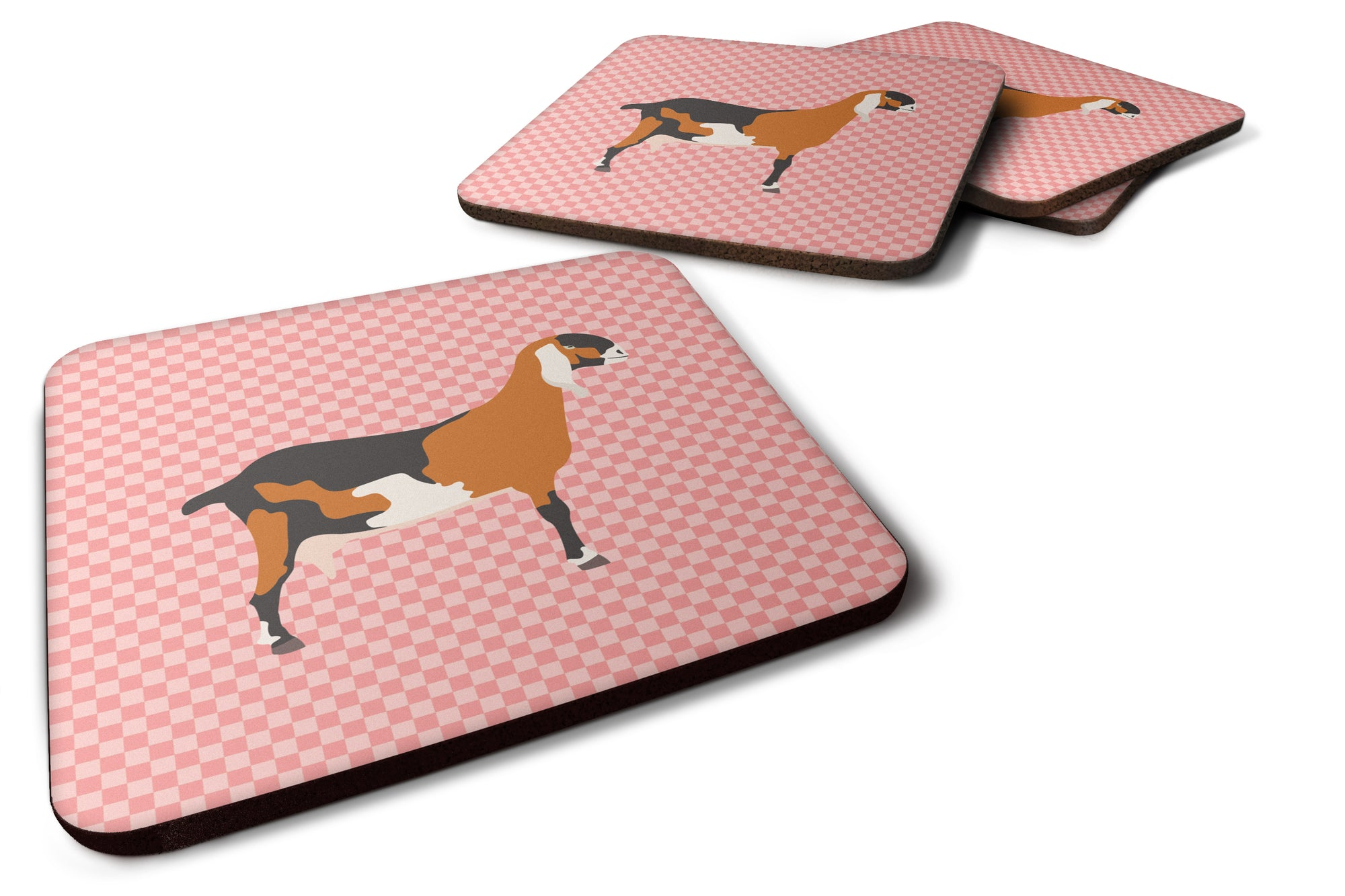 Anglo-nubian Nubian Goat Pink Check Foam Coaster Set of 4 BB7883FC by Caroline's Treasures