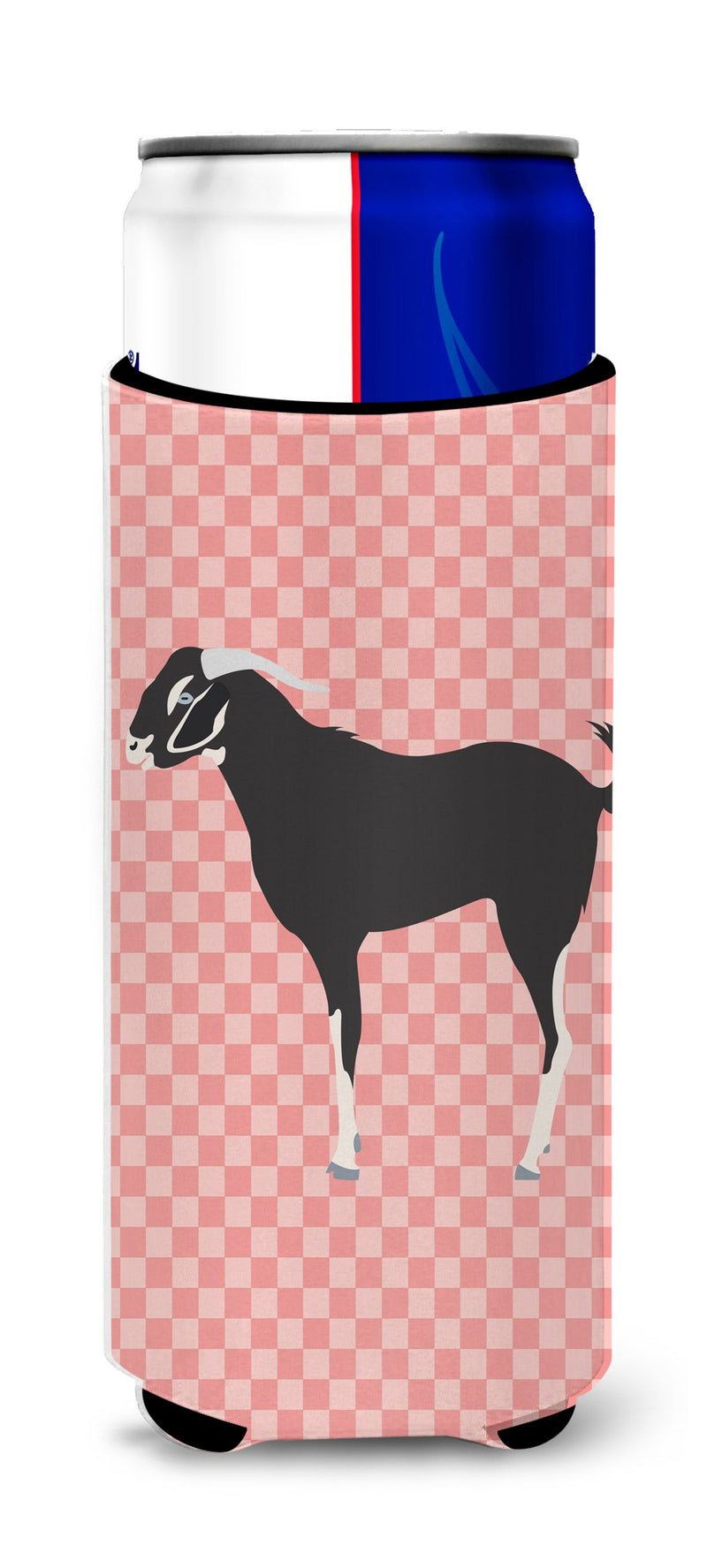 Buy this Black Bengal Goat Pink Check Michelob Ultra Hugger for slim cans