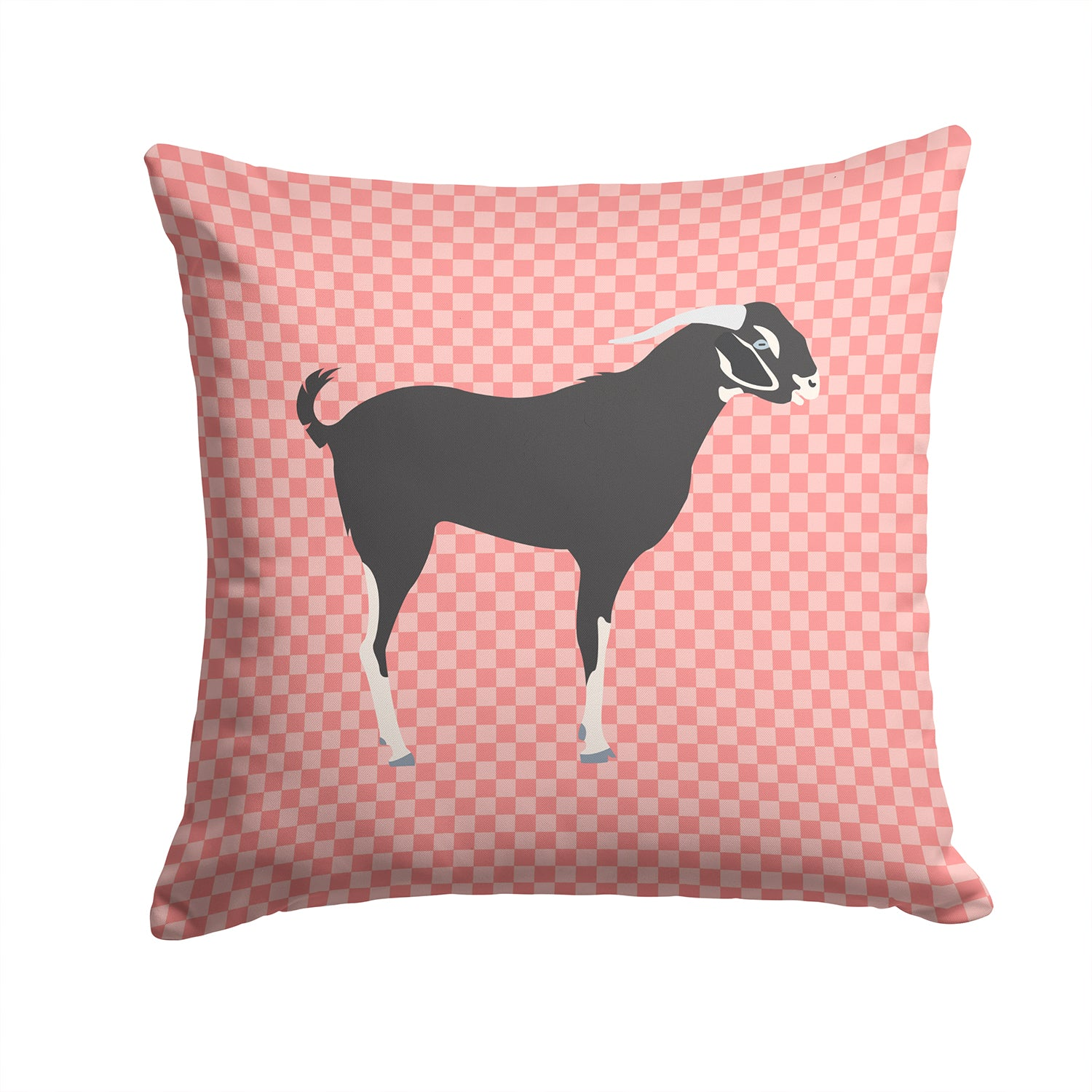 Black Bengal Goat Pink Check Fabric Decorative Pillow BB7884PW1414 by Caroline's Treasures