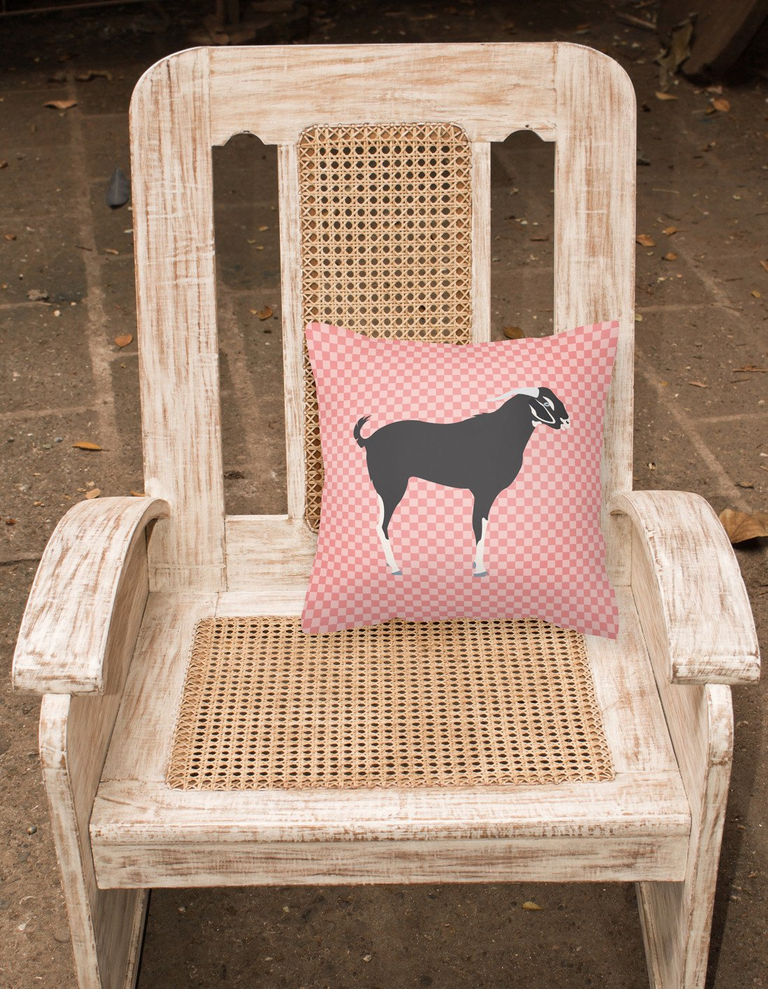 Black Bengal Goat Pink Check Fabric Decorative Pillow BB7884PW1818 by Caroline's Treasures