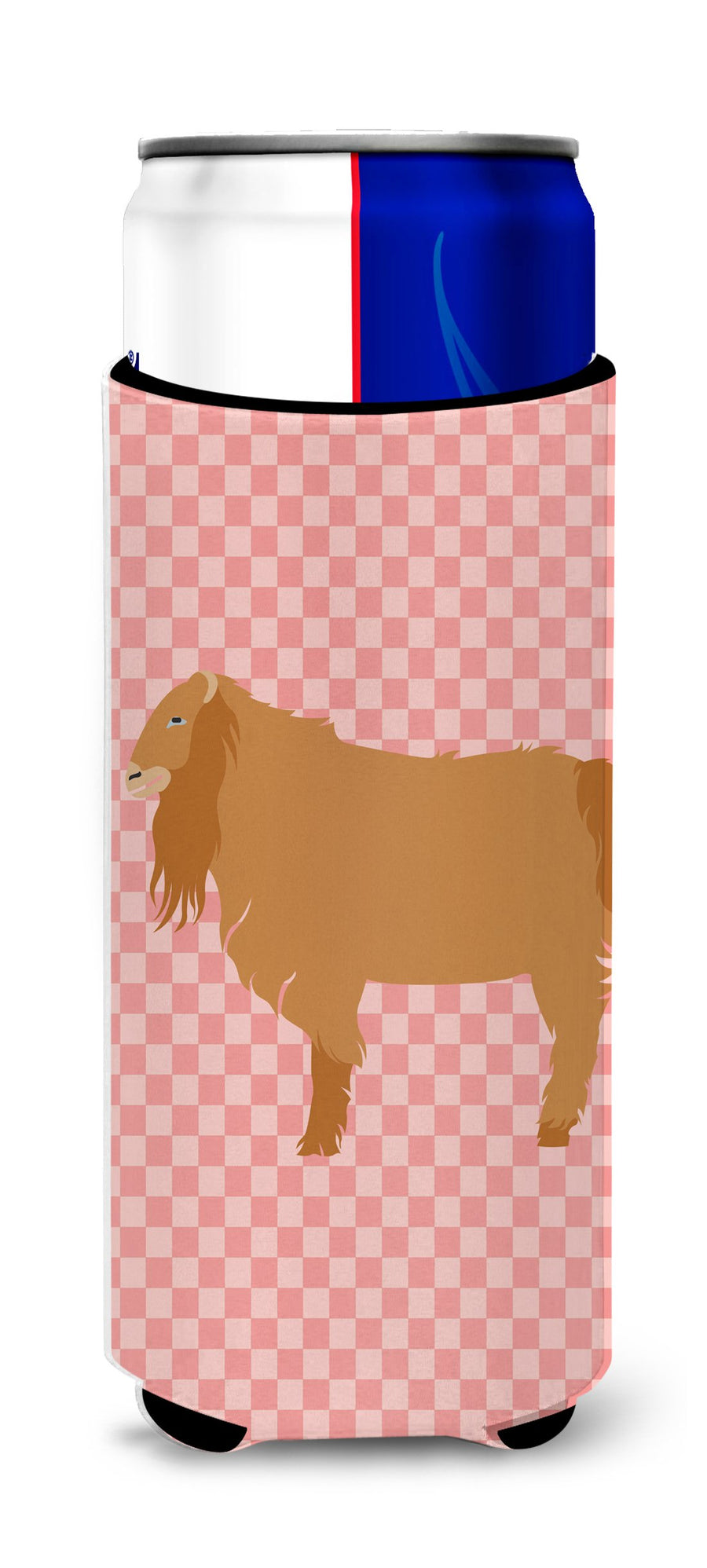 Buy this American Lamancha Goat Pink Check Michelob Ultra Hugger for slim cans