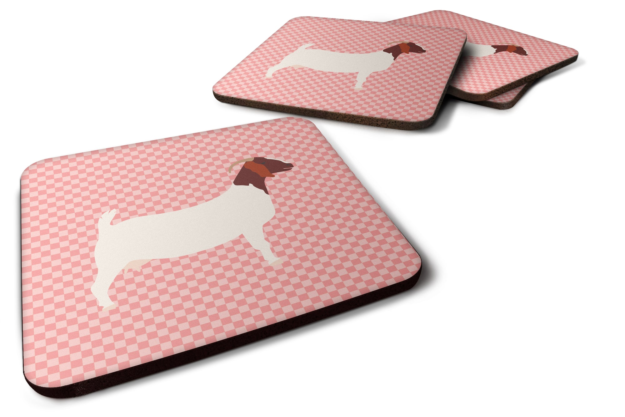 Boer Goat Pink Check Foam Coaster Set of 4 BB7886FC by Caroline's Treasures