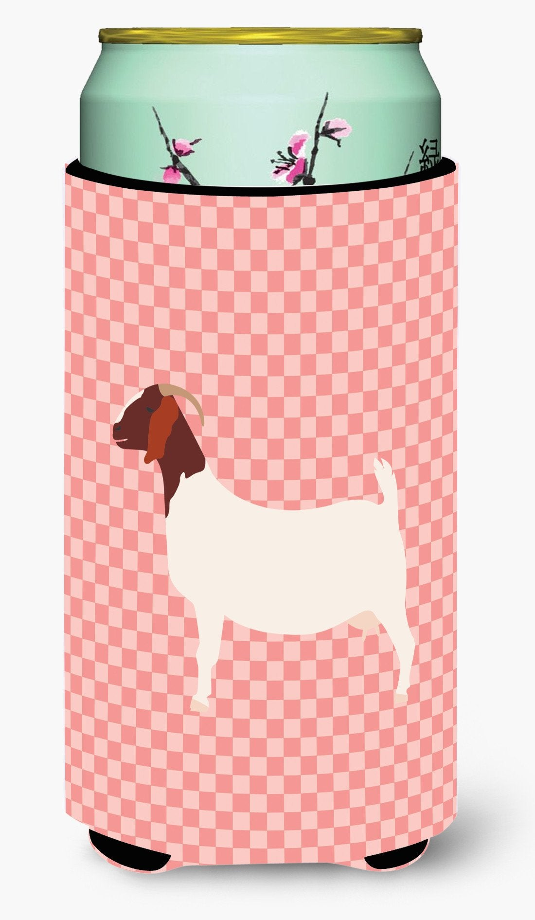 Boer Goat Pink Check Tall Boy Beverage Insulator Hugger BB7886TBC by Caroline's Treasures