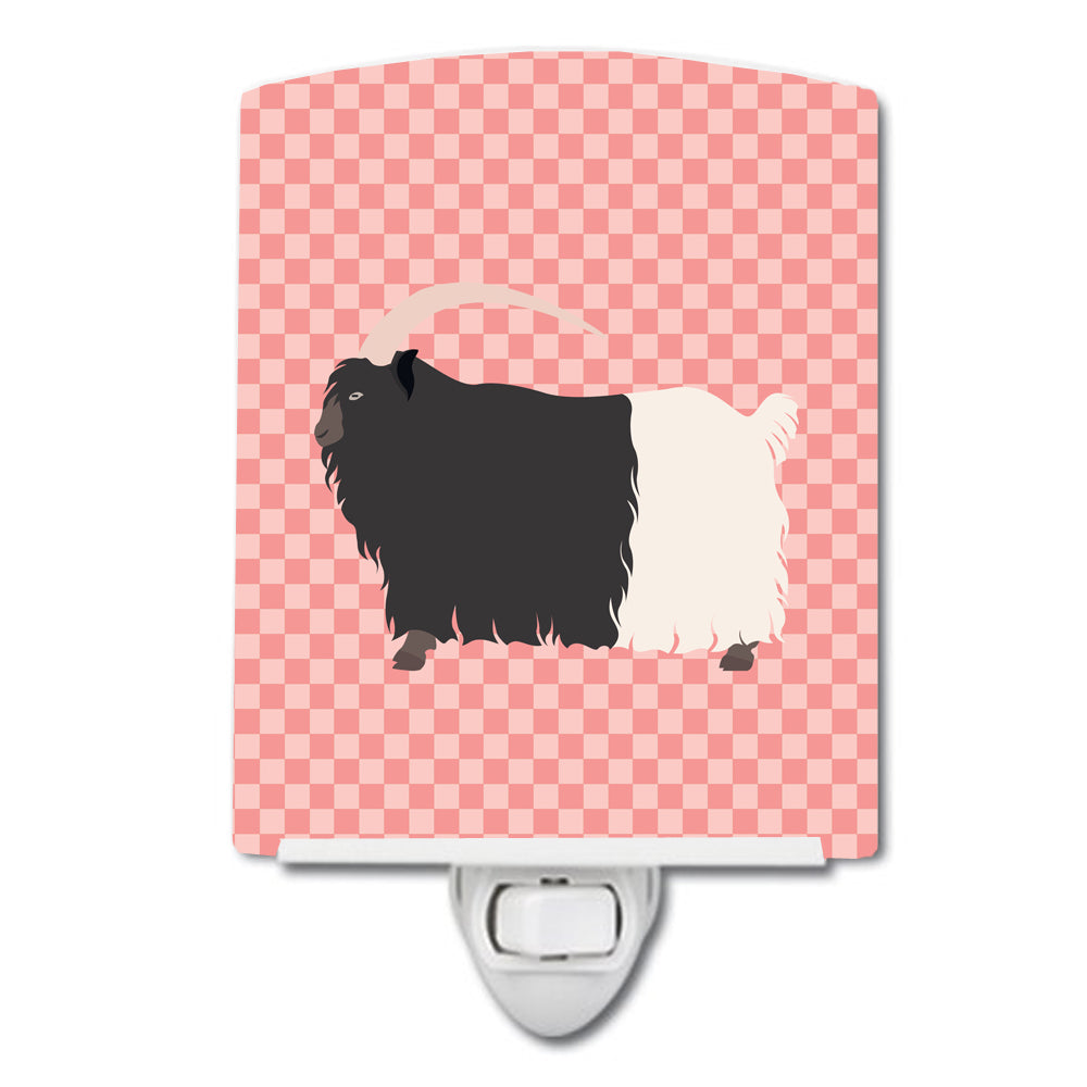 Welsh Black-Necked Goat Pink Check Ceramic Night Light BB7887CNL by Caroline's Treasures