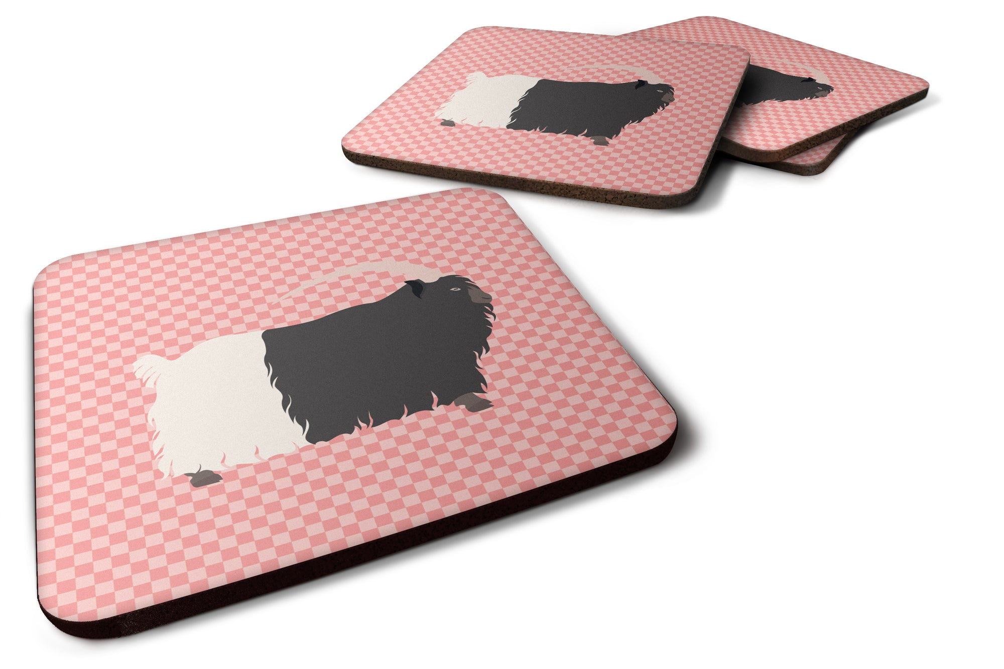 Welsh Black-Necked Goat Pink Check Foam Coaster Set of 4 BB7887FC by Caroline's Treasures