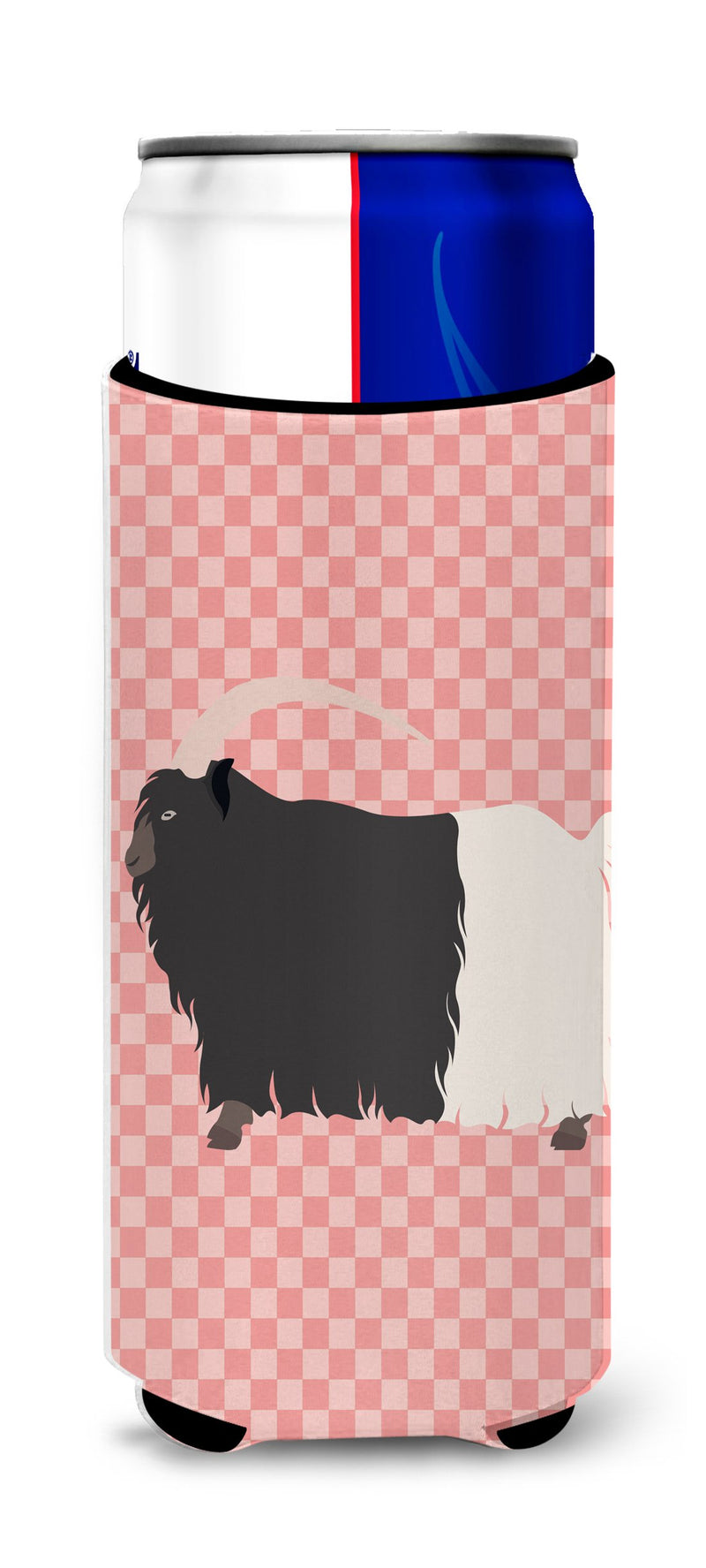 Buy this Welsh Black-Necked Goat Pink Check Michelob Ultra Hugger for slim cans