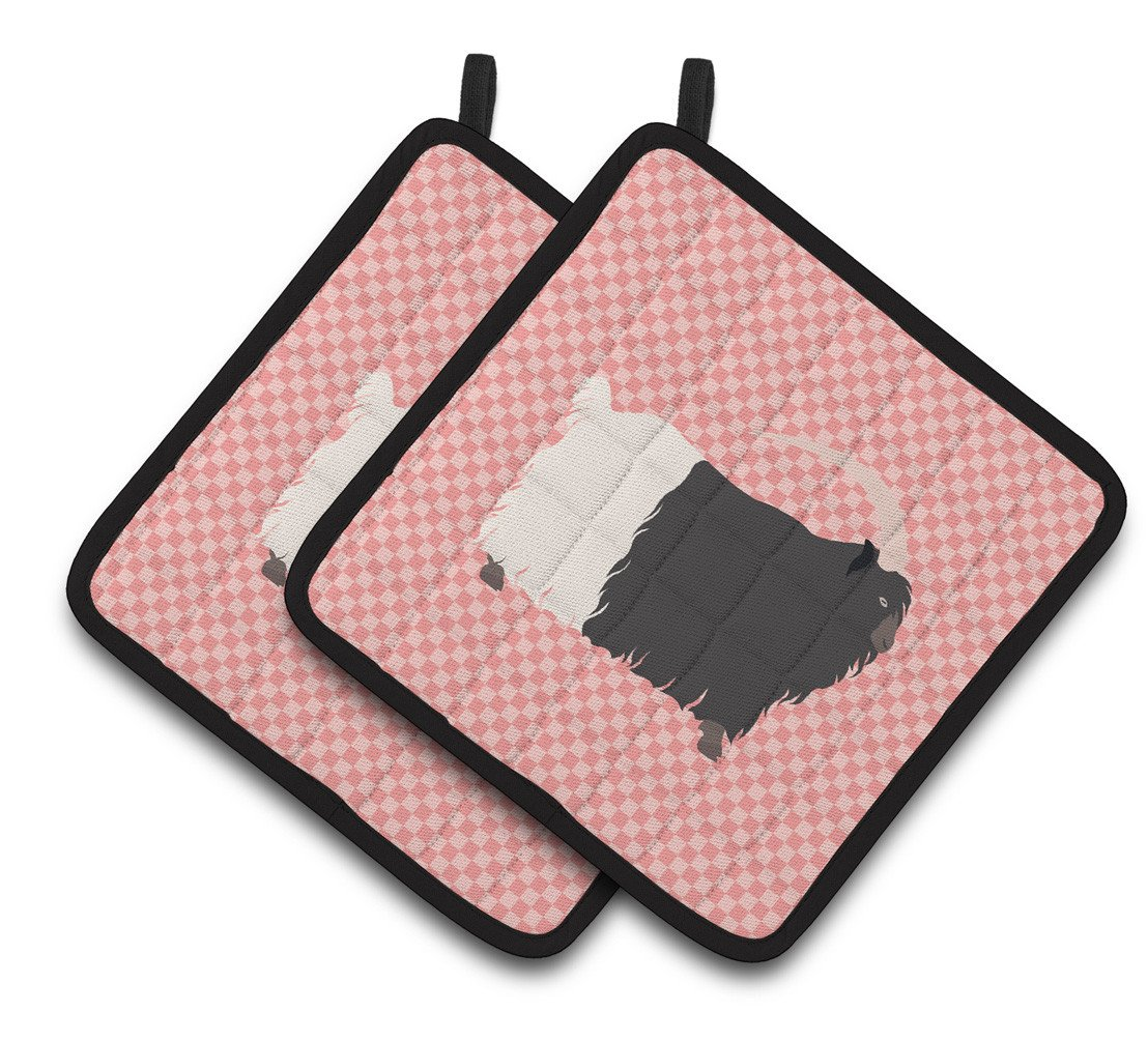 Welsh Black-Necked Goat Pink Check Pair of Pot Holders BB7887PTHD by Caroline's Treasures