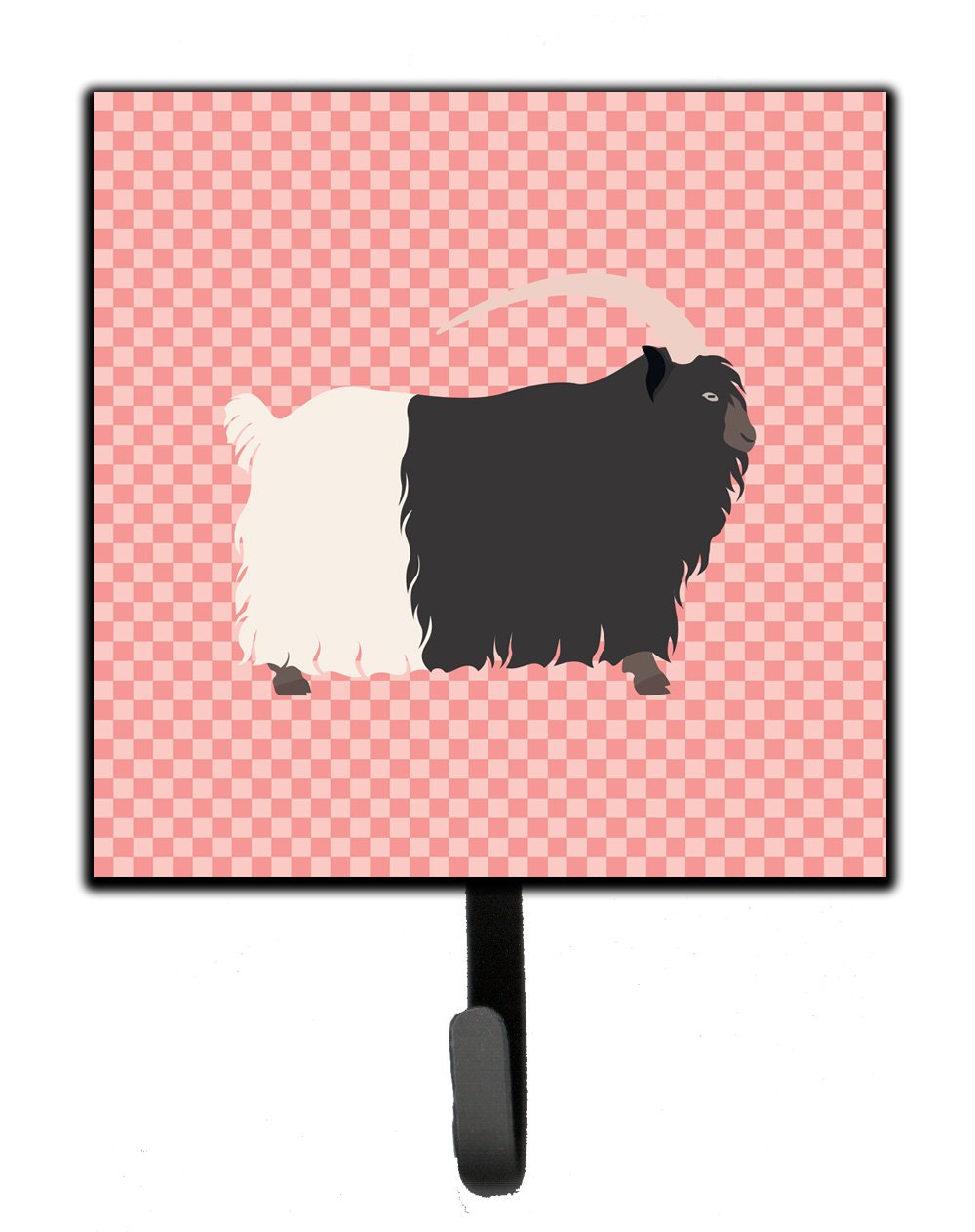 Buy this Welsh Black-Necked Goat Pink Check Leash or Key Holder