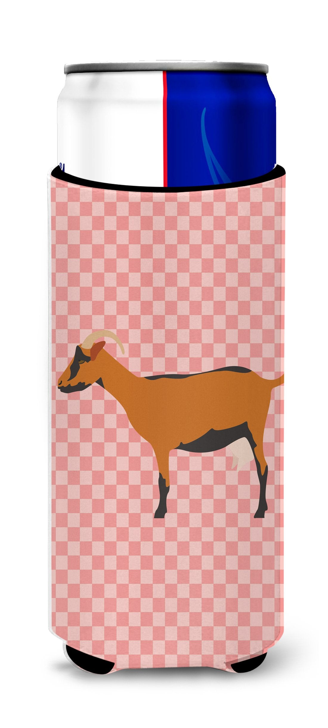 Buy this Oberhasli Goat Pink Check Michelob Ultra Hugger for slim cans